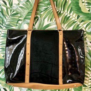 Arcadia Black Patent Leather & Calf-hair Tote